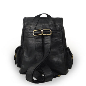 Small black leather backpack, back view, adjustable straps, Sadie Leather Backpack.