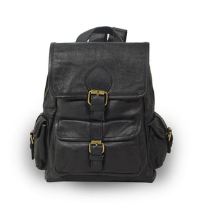 Small black leather backpack, front view, adjustable straps, Sadie Leather Backpack.