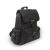 Small black leather backpack, side front view, adjustable straps, Sadie Leather Backpack.