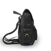 Small black leather backpack, side view, adjustable straps, Sadie Leather Backpack.