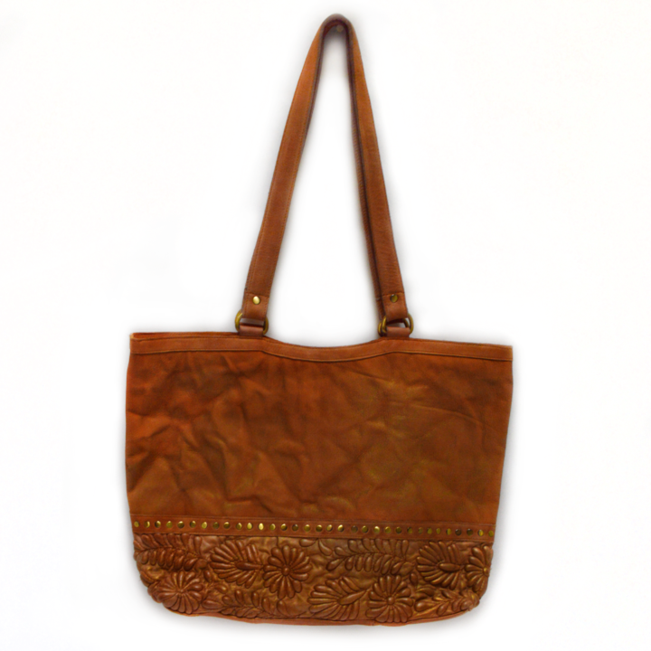 front view of Embellished Tote, gold flecks, rivets, quilting, golden tote, leather, Goldenrod Quilted Tote.