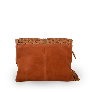 Back of suede and leather clutch in brick, Ivy Clutch.