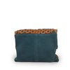 Back of suede and leather clutch in teal, Ivy Clutch.