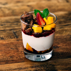 Fruit Parfait with Sweet Gluten-Free Pita Crisps