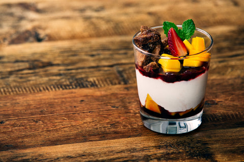 Fruit Parfait with Sweet Pita Crisps