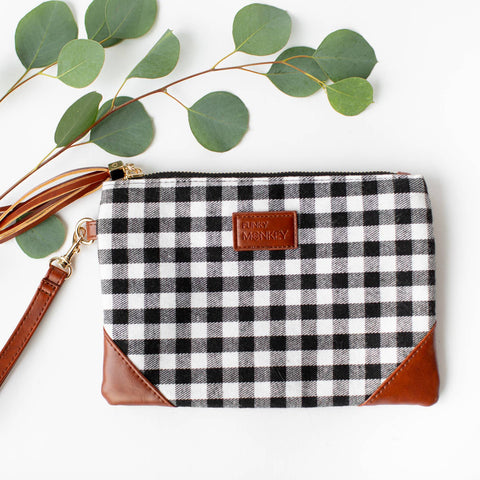 Black and White Check Clutch