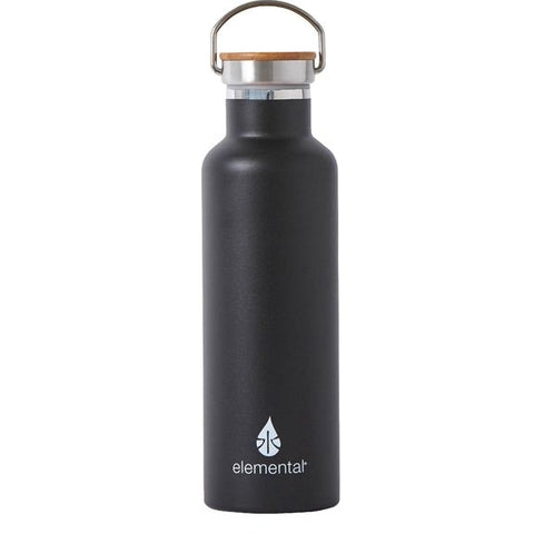 Matte Black Stainless Water Bottle with Bamboo Cap