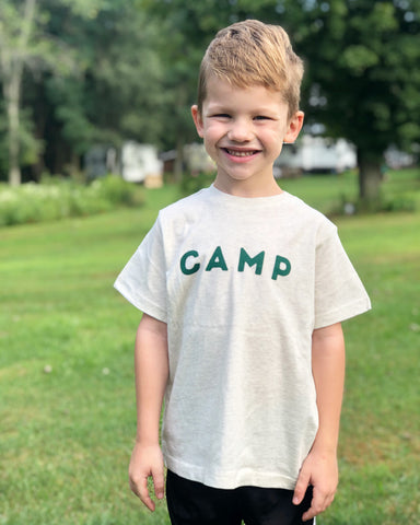 Toddler Camp tee - Heather oatmeal color