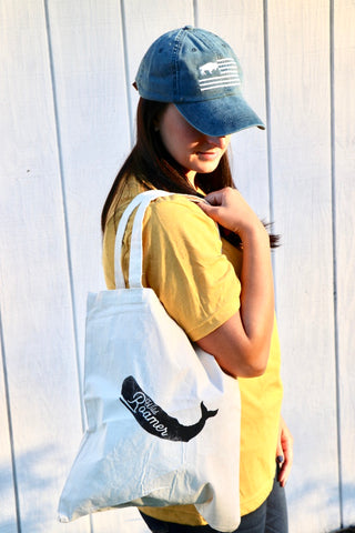 Wild Roamer Whale canvas Tote