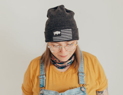Charcoal grey Buffalo flag beanie