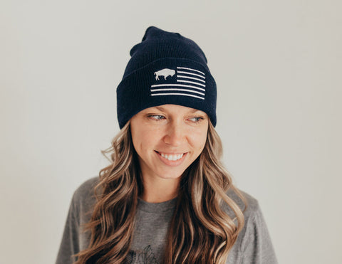 Navy Buffalo flag beanie
