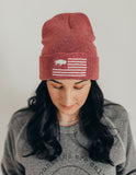 Washed red Buffalo flag beanie