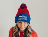 Red and blue Buffalo flag beanie