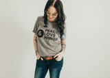 Peace love and wings unisex triblend tee