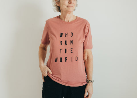 Who run the world pink tee shirt