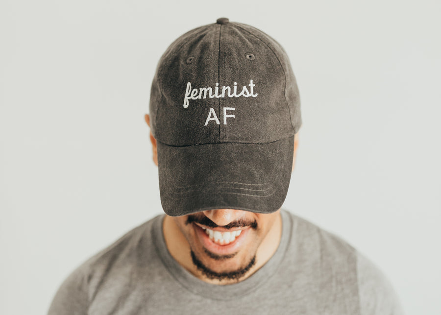 Black Feminist AF Baseball Hat- Black