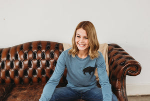 Slate Blue Long Sleeve Buffalo Shirt