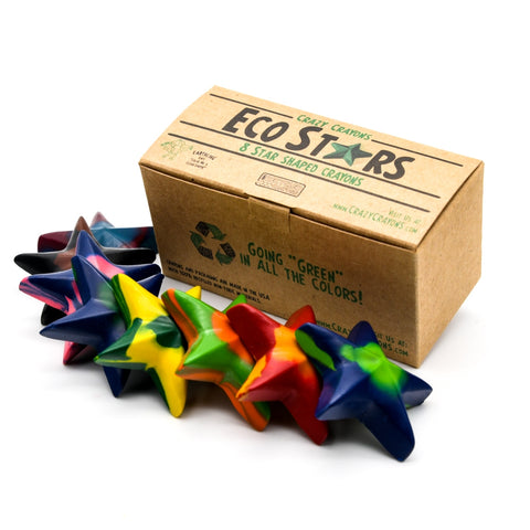 Set of 8 multi color star crayons