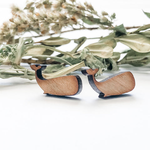 Wooden whale earrings