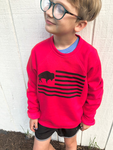 Youth buffalo flag sweatshirt - Red