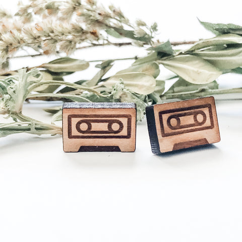 Wooden cassette tape earrings