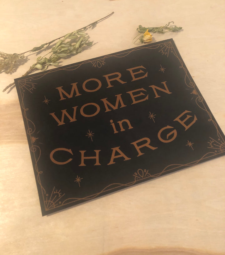 More women in charge black print