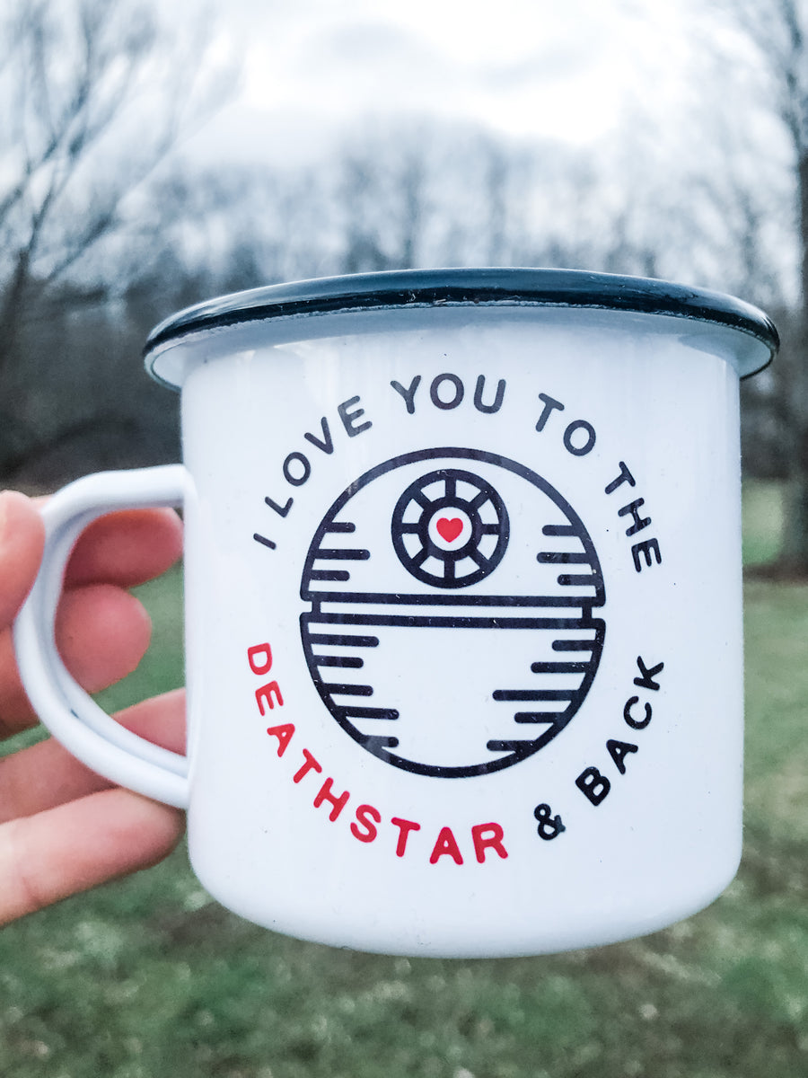 I love you to the death star and back enamel mug