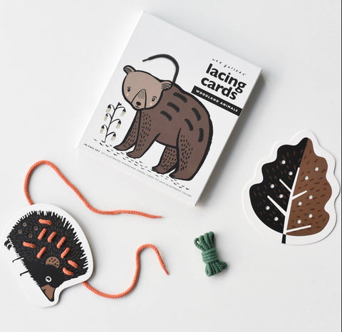 Woodland animal lacing card