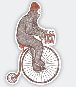 Sasquatch on bike sticker