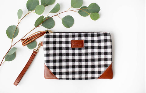 Black and white check wristlet