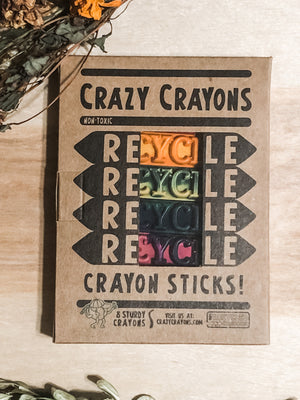 Recycled crayon sticks