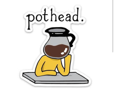 Pot head coffee sticker