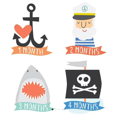 Monthly milestone stickers - pirate