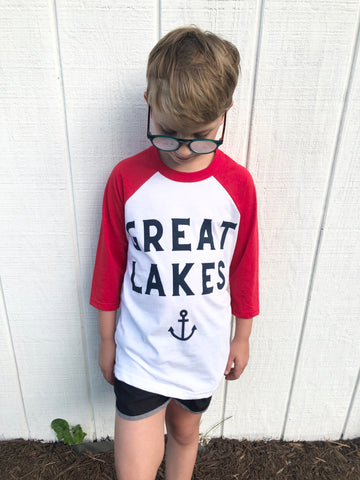Great Lakes red baseball shirt