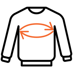 Sweatshirts size guide showing where to measure