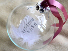 Load image into Gallery viewer, Hand stamped feather in a glass bauble, with silver text