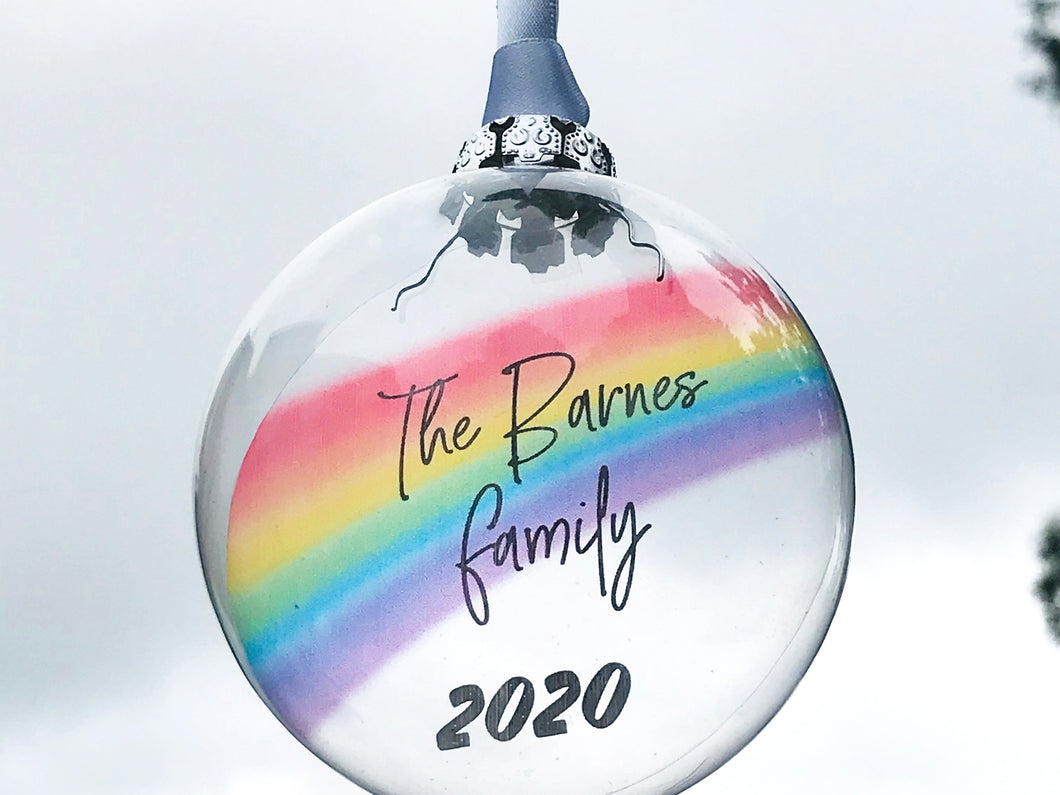 Personalised Family Name Rainbow Glass Bauble