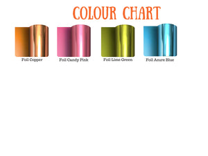 Colour chart of foil colours for Wild One T-shirt