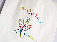 Load image into Gallery viewer, Children's drawing tote bag, in metallic rainbow, close up