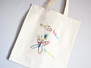 Children's drawing tote bag, in metallic rainbow