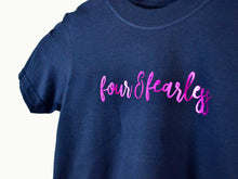 Load image into Gallery viewer, Four & Fearless Slogan 4th Birthday T Shirt, close up
