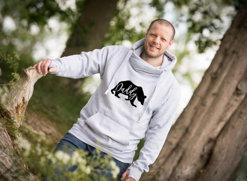 Ash Grey Hoodie with Daddy Bear in black print