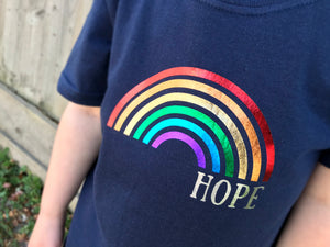 Rainbow of hope t-shirt, close up