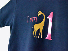 Load image into Gallery viewer, I am age giraffe birthday t-shirt, close up