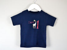 Load image into Gallery viewer, I am age giraffe birthday t-shirt