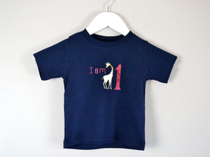 I am age giraffe birthday t-shirt