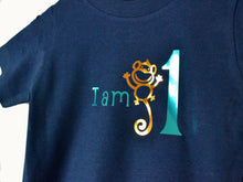 Load image into Gallery viewer, I am age monkey birthday t-shirt, close up