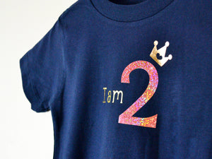 I am age princess birthday t-shirt, close up