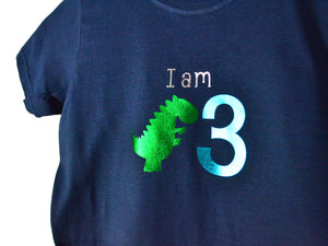 I am age dinosaur birthday t-shirt, close up