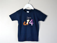 Load image into Gallery viewer, I am age fox birthday t-shirt